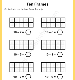 Ten-Frames-Subtraction-Worksheet-1 - Your Home Teacher [ 1056 x 816 Pixel ]