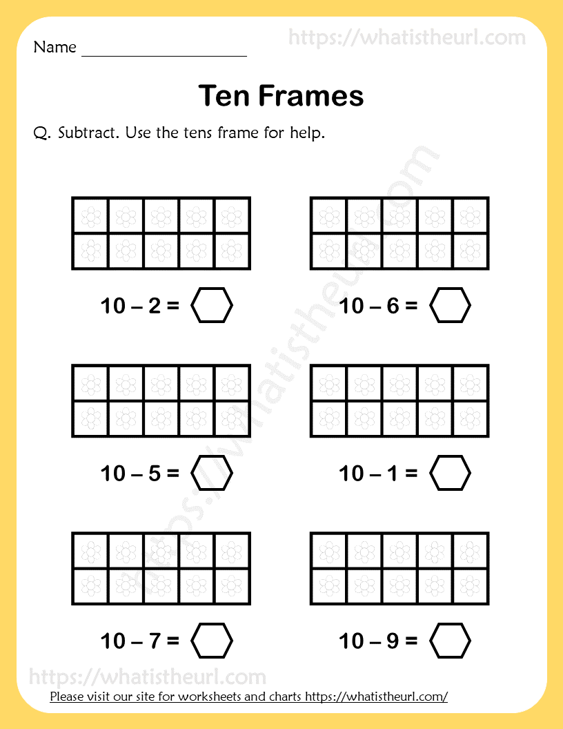 medium resolution of Ten-Frames-Subtraction-Worksheet-1 - Your Home Teacher