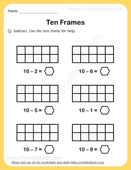small resolution of Ten-Frames-Subtraction-Worksheet-1 - Your Home Teacher