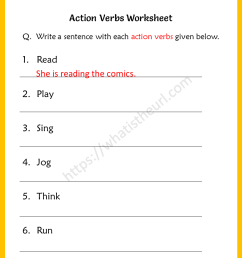 Action Verbs Worksheets for 5th Grade - Your Home Teacher [ 1056 x 816 Pixel ]