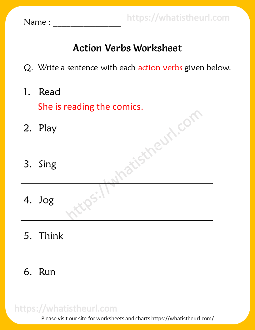 medium resolution of Action Verbs Worksheets for 5th Grade - Your Home Teacher