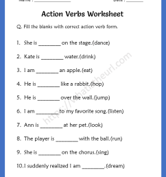 Action Verbs Worksheets for 3rd Grade - Your Home Teacher [ 1056 x 816 Pixel ]