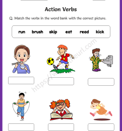 Action Verbs Worksheets for 1st Grade - Your Home Teacher [ 1056 x 816 Pixel ]