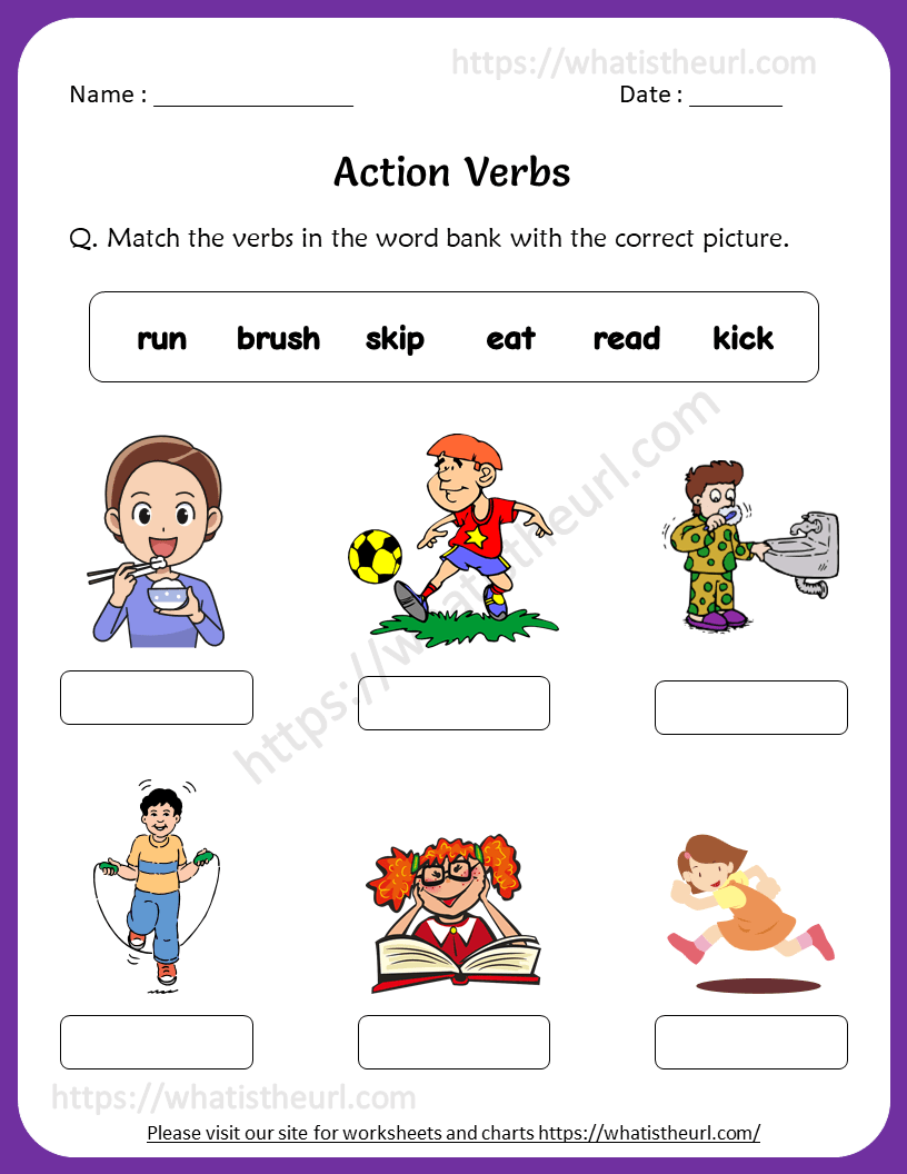 medium resolution of Action Verbs Worksheets for 1st Grade - Your Home Teacher