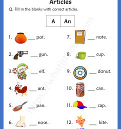 Articles Worksheets For 1st Grade (a / an) - Your Home Teacher [ 1056 x 816 Pixel ]