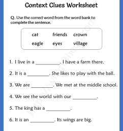 Context Clues Worksheet for Grade 3 - Your Home Teacher [ 1056 x 816 Pixel ]