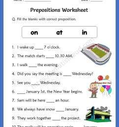 Preposition Worksheets for 4th Grade - Your Home Teacher [ 1056 x 816 Pixel ]