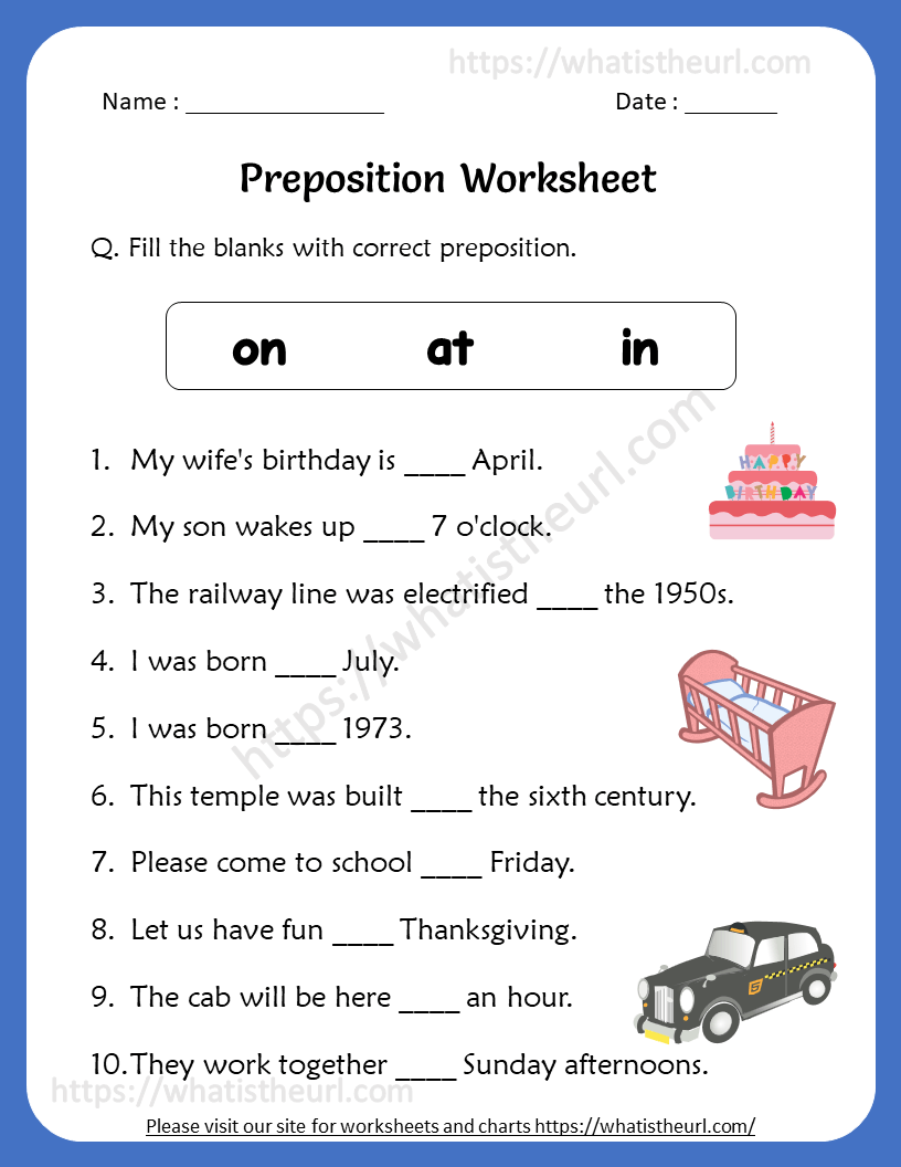 hight resolution of Preposition Worksheets for 4th Grade - Your Home Teacher
