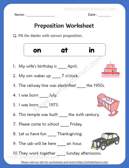 small resolution of Preposition Worksheets for 4th Grade - Your Home Teacher