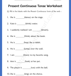 Present Continuous Tense Worksheets For 5th Grade - Your Home Teacher [ 1056 x 816 Pixel ]