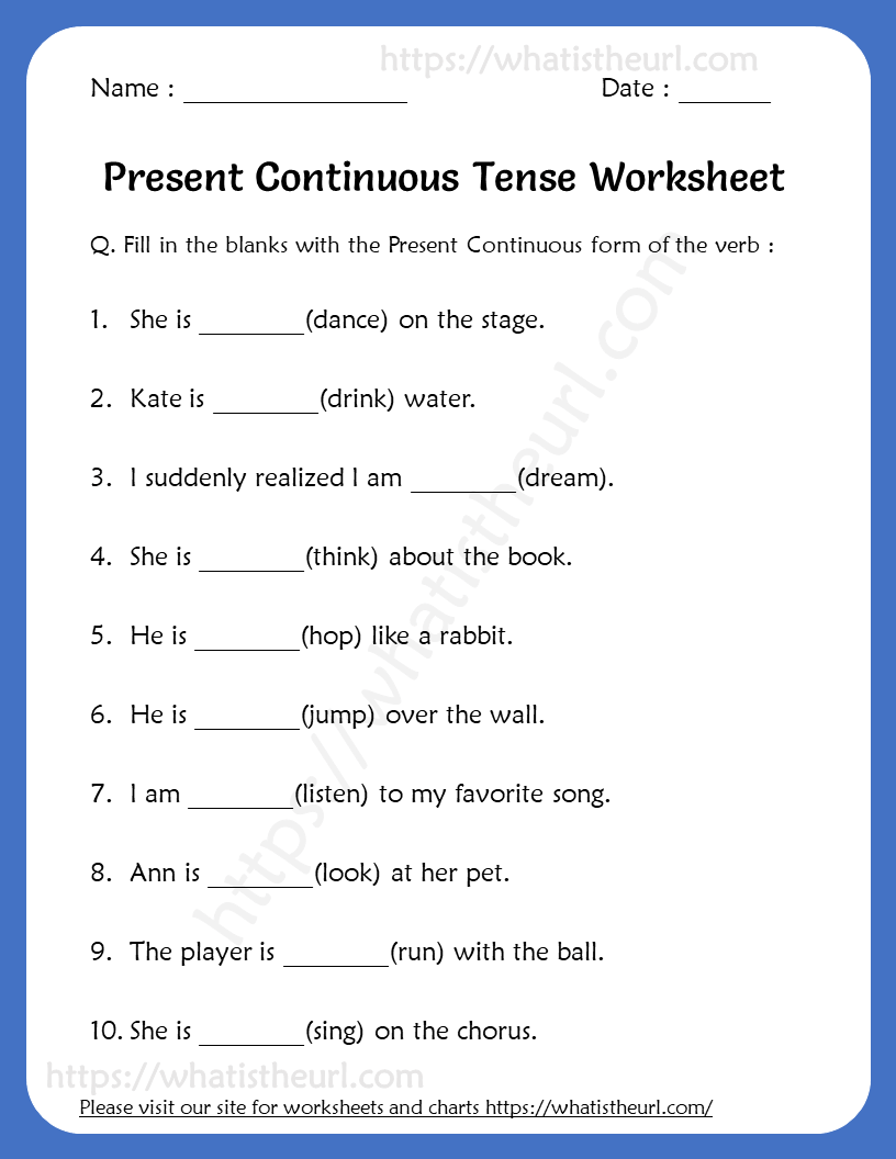 hight resolution of Present Continuous Tense Worksheets For 5th Grade - Your Home Teacher