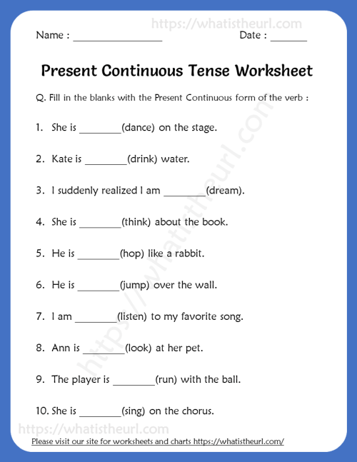 small resolution of Present Continuous Tense Worksheets For 5th Grade - Your Home Teacher