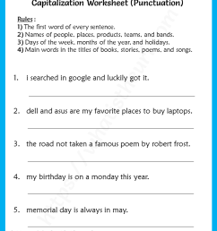 Capitalization worksheet for 3rd Grade (punctuation) - Your Home Teacher [ 1056 x 816 Pixel ]