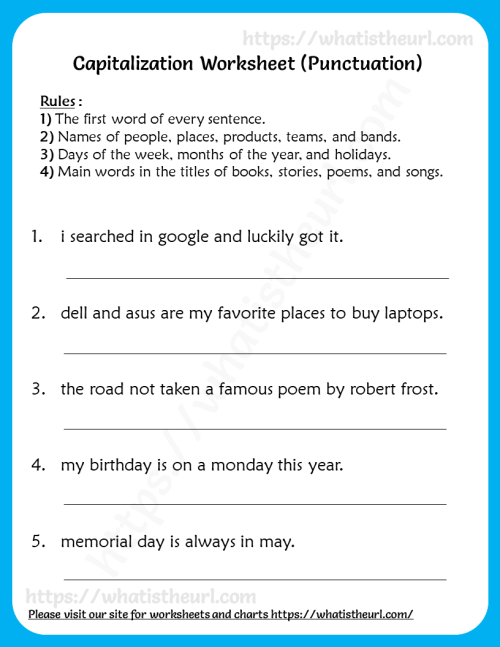 small resolution of Capitalization worksheet for 3rd Grade (punctuation) - Your Home Teacher
