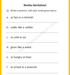 Similes Worksheets for 6th Grade - Your Home Teacher [ 1056 x 816 Pixel ]