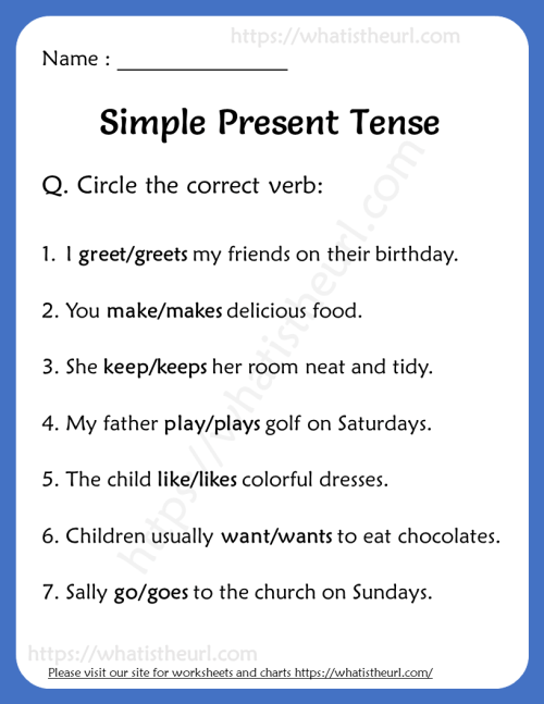 small resolution of Simple Present Tense Worksheets for Grade 2 - Your Home Teacher