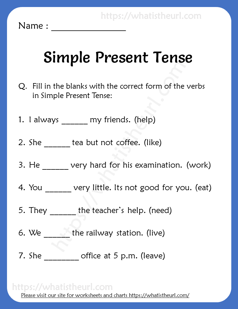 medium resolution of Simple Present Tense Worksheets for Grade 3 - Your Home Teacher
