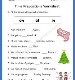 Time Prepositions Worksheets for 5th Grade - Your Home Teacher [ 1056 x 816 Pixel ]