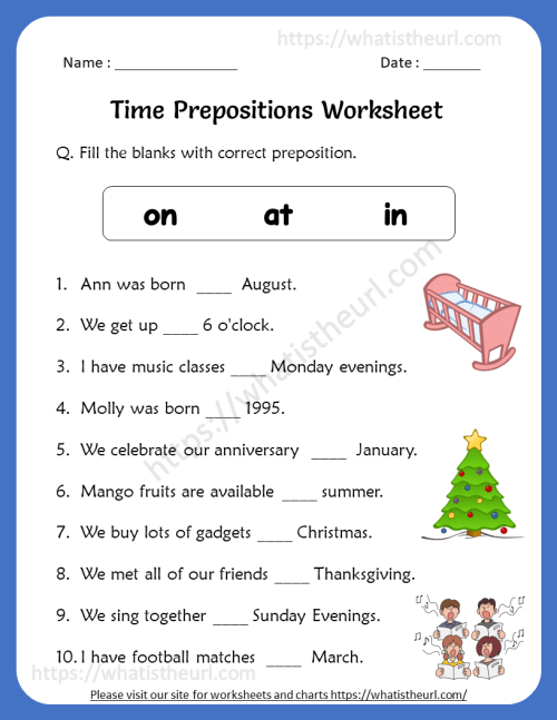 small resolution of Time Prepositions Worksheets for 5th Grade - Your Home Teacher