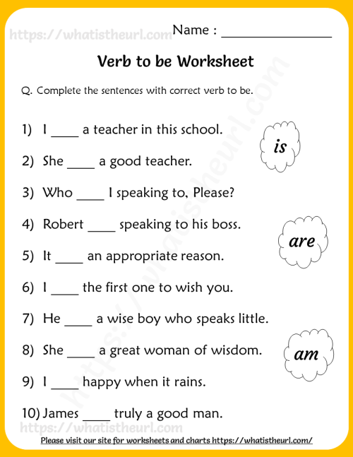 small resolution of Verb to be Worksheets for Grade 2 - Your Home Teacher