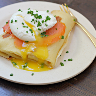 Chive Cream Cheese Blintzes with Lox and a Poached Egg