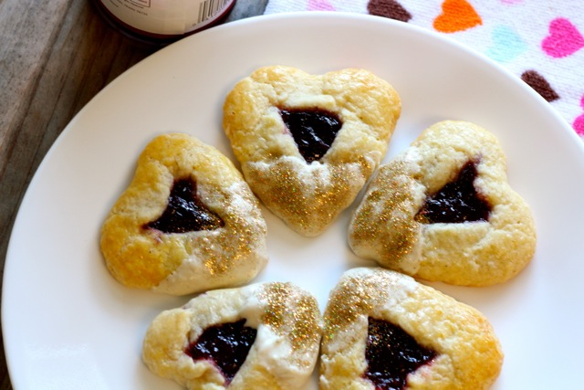 Heart Shaped Cherry White Chocolate Hamantaschen