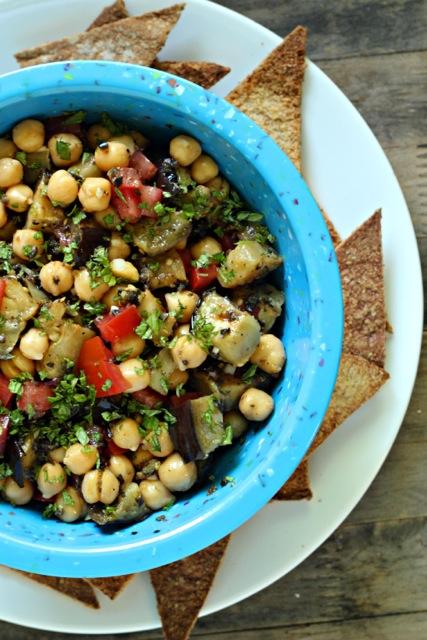 Grilled Eggplant and Chickpea Sephardic Salad