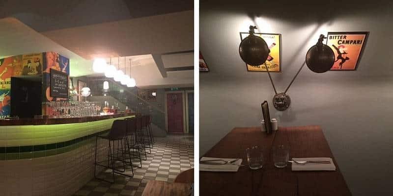 The bar area at Mele e Pere