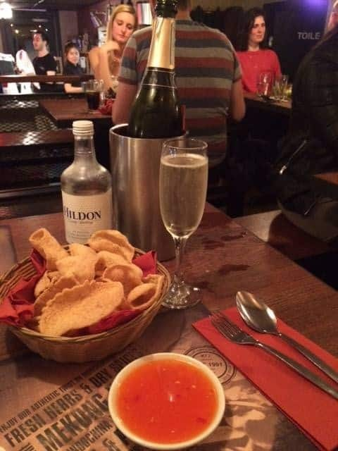 Prosecco and prawn crackers
