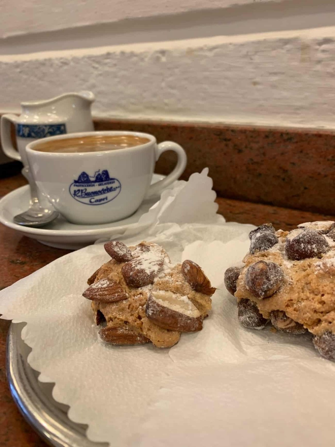 Coffee and biscuits at Buonocore Capri