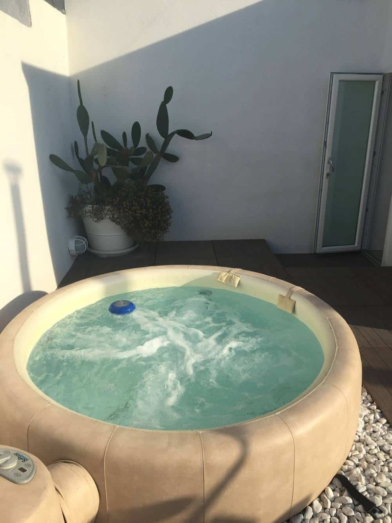 Rooftop jacuzzi in our Airbnb