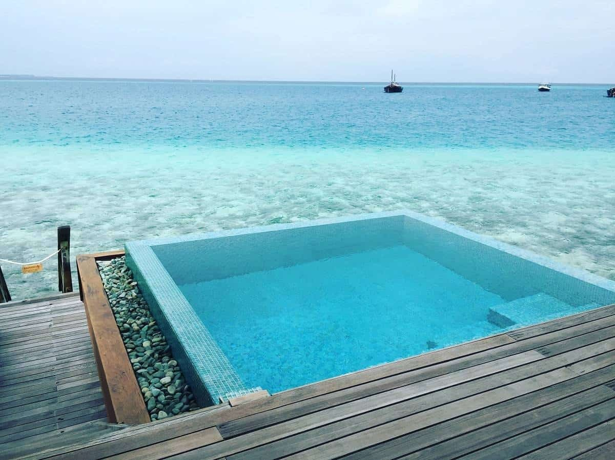 Plunge pool at the Ocean Bungalow at Huvafen Fushi