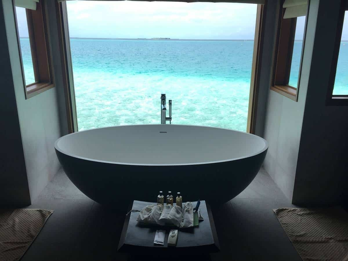 The bath with a view at Huvafen Fushi Maldives