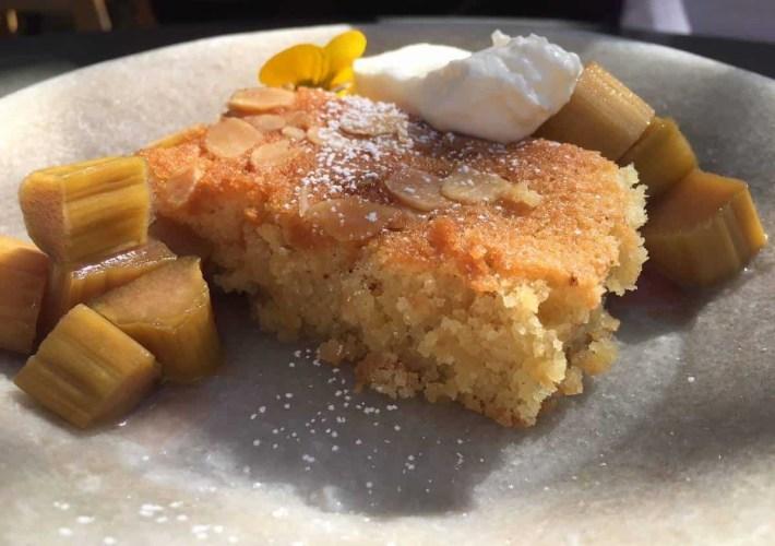 Rhubarb dessert at Petersham Nurseries