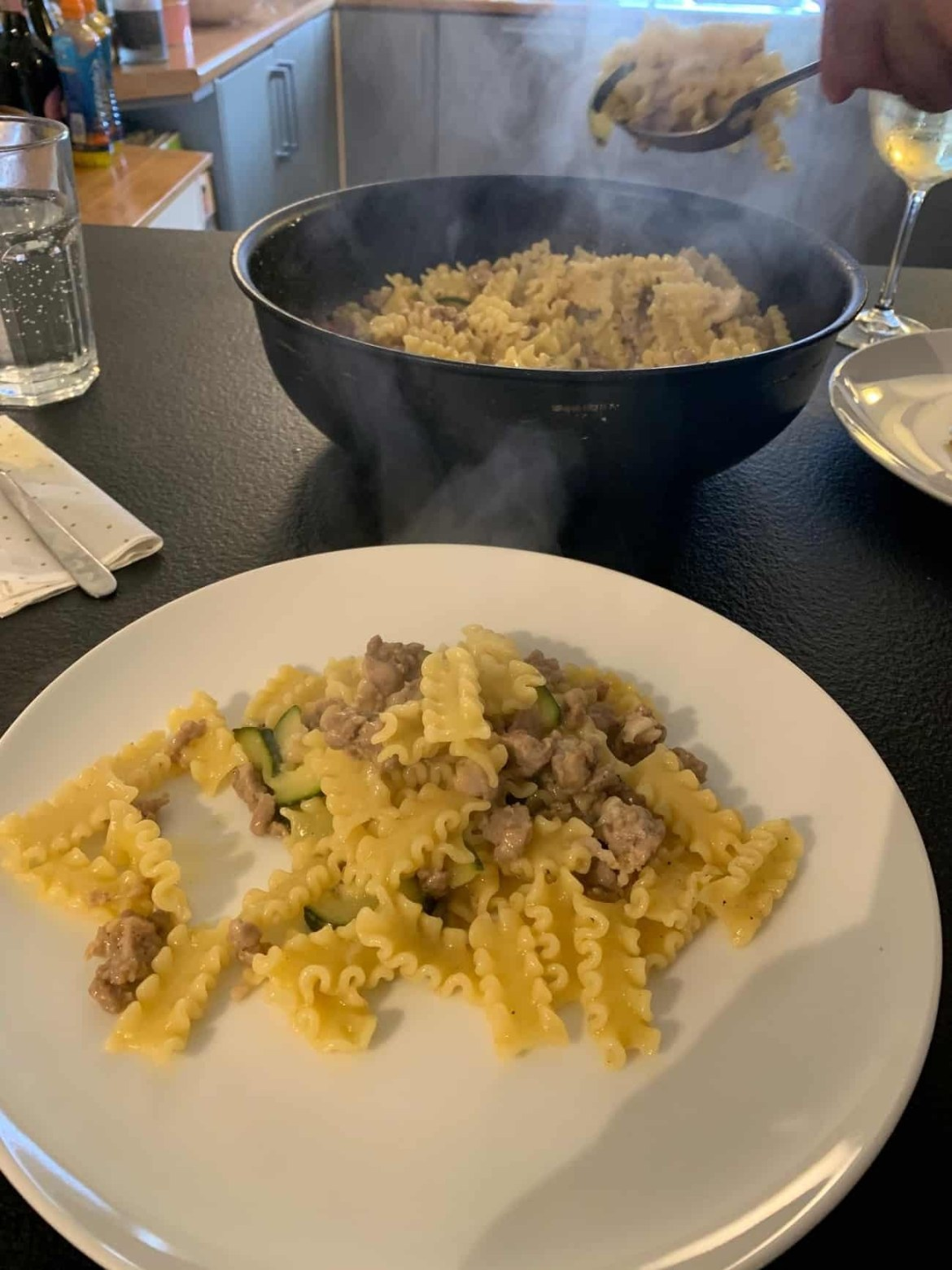 Pasta with sausage for Saturday lunch