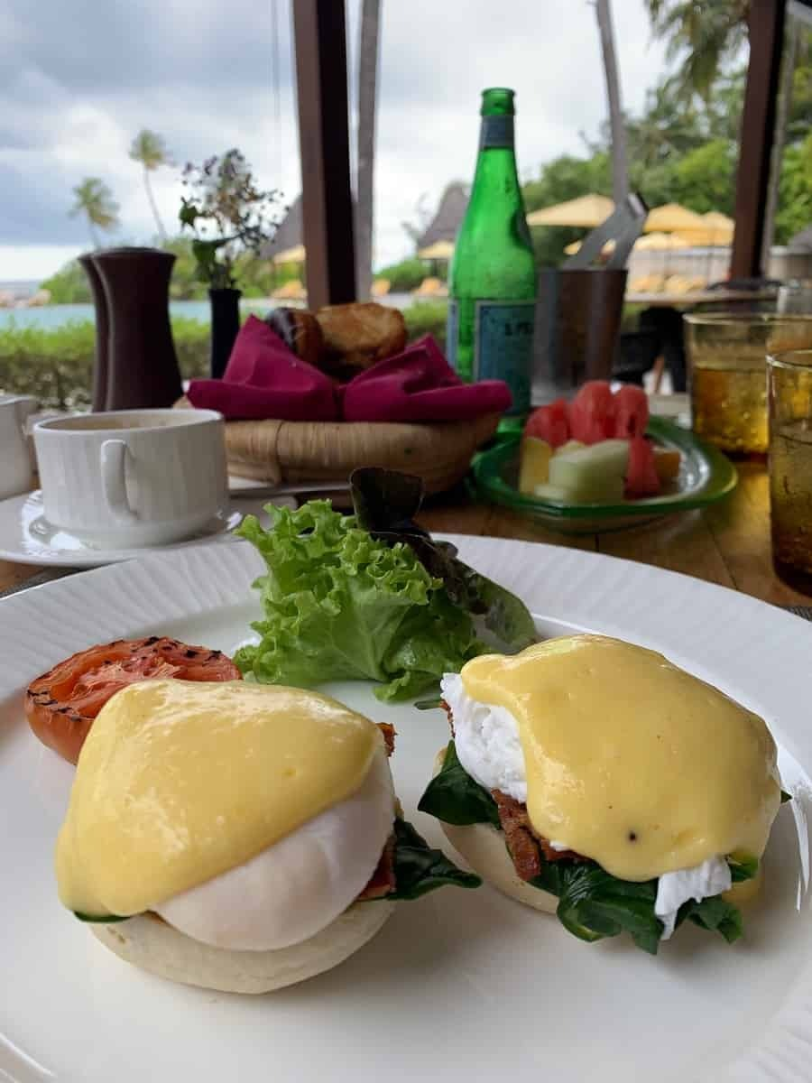 Eggs benedict breakfast at Cafe Huraa