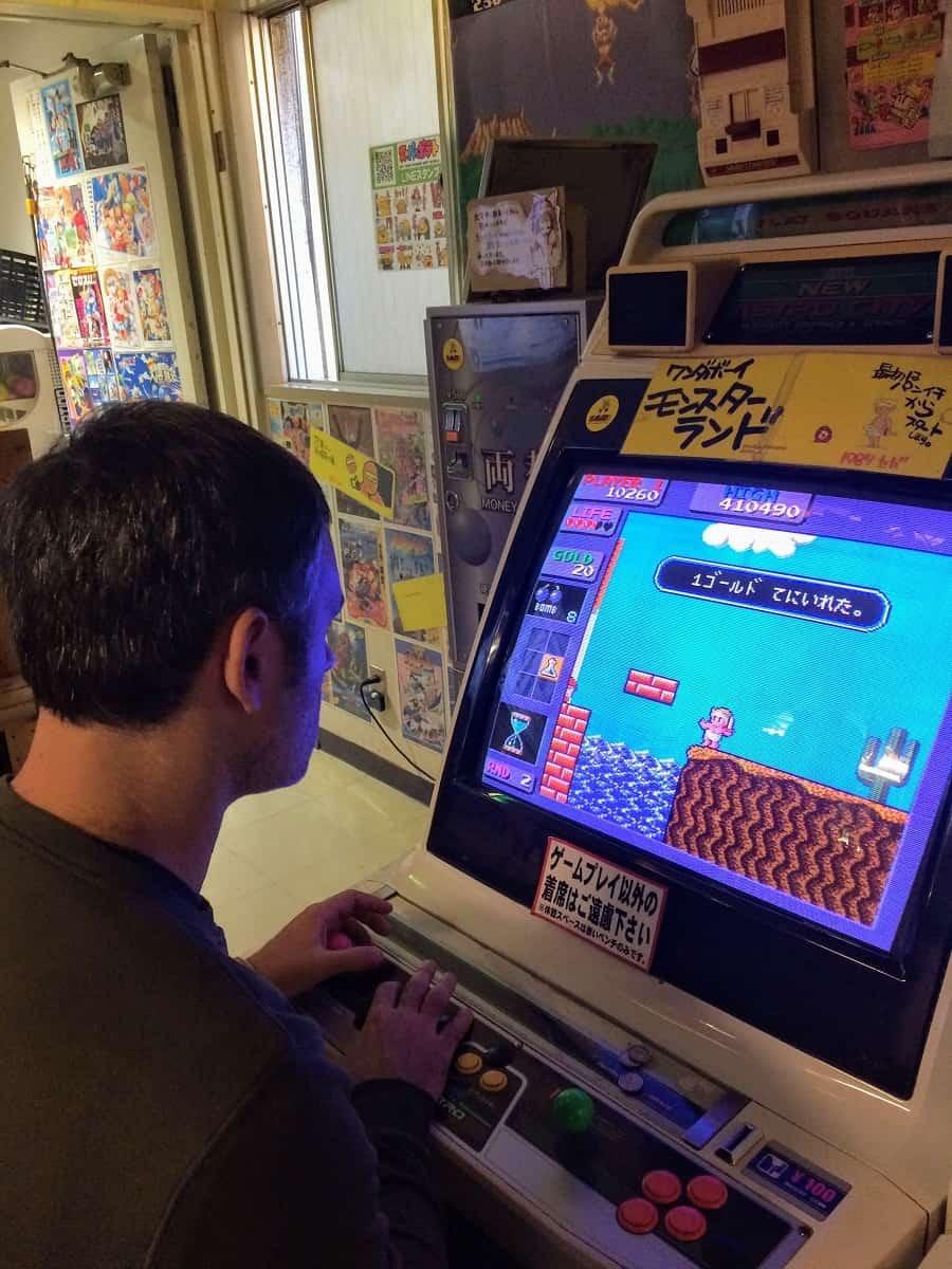 Playing a retro arcade game
