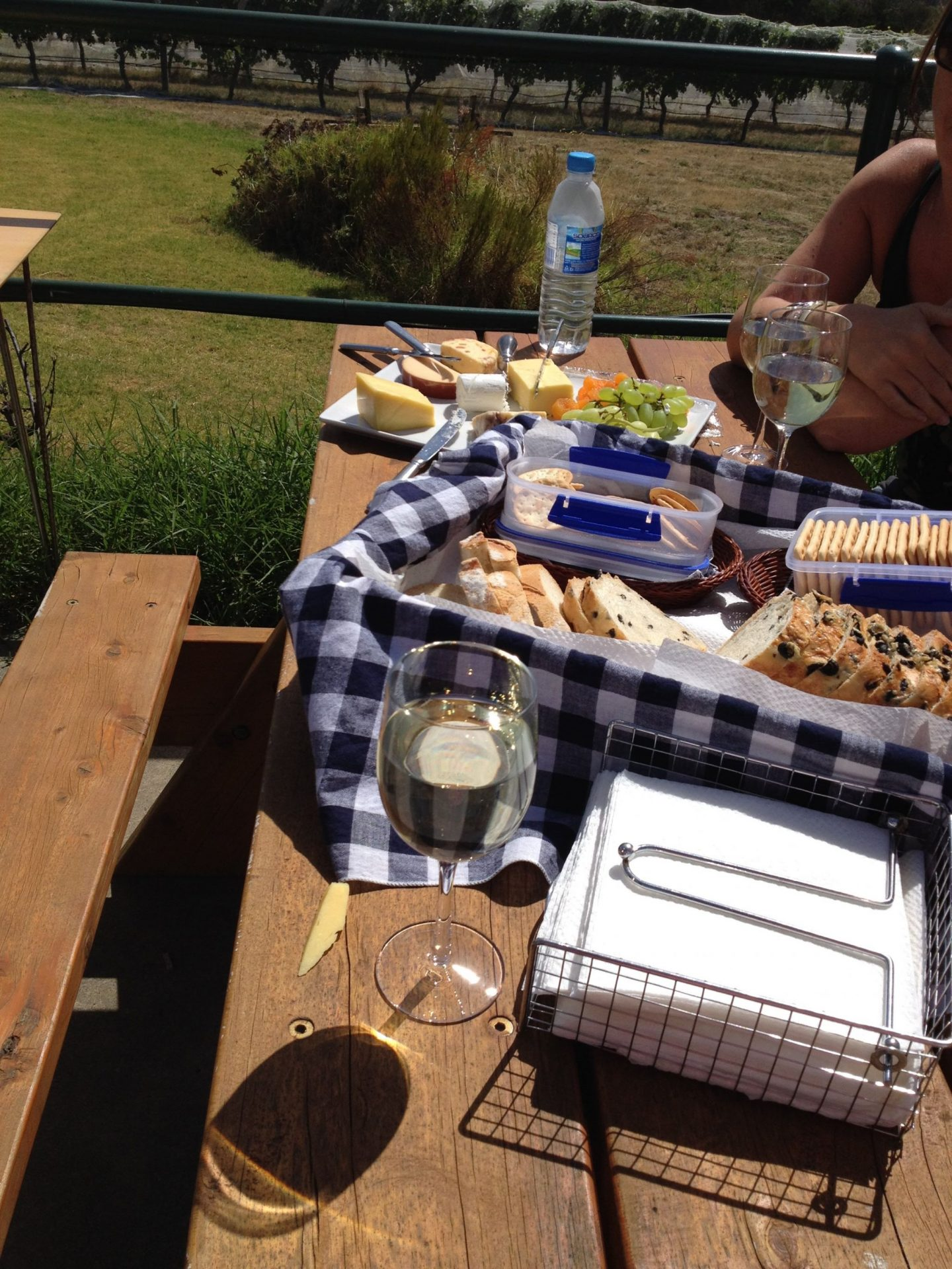 A wine and cheese spread at a vineyard near Melbourne