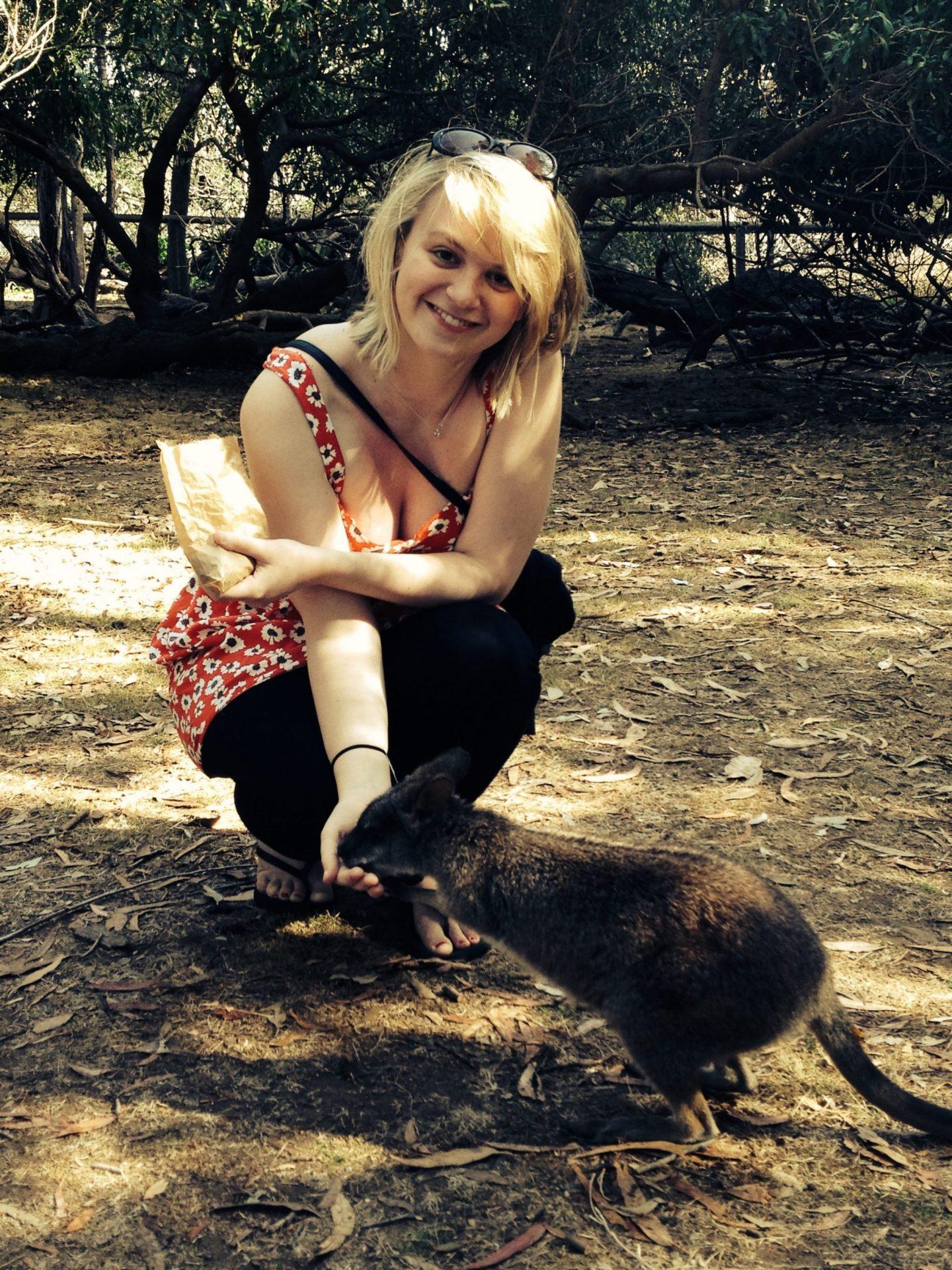 Laura feeding the wallabies