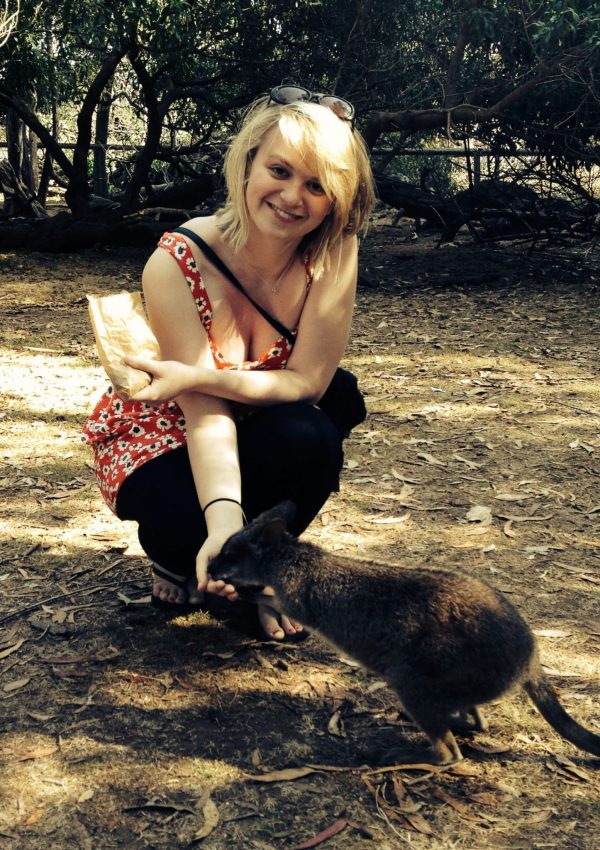 Laura feeding the wallabies