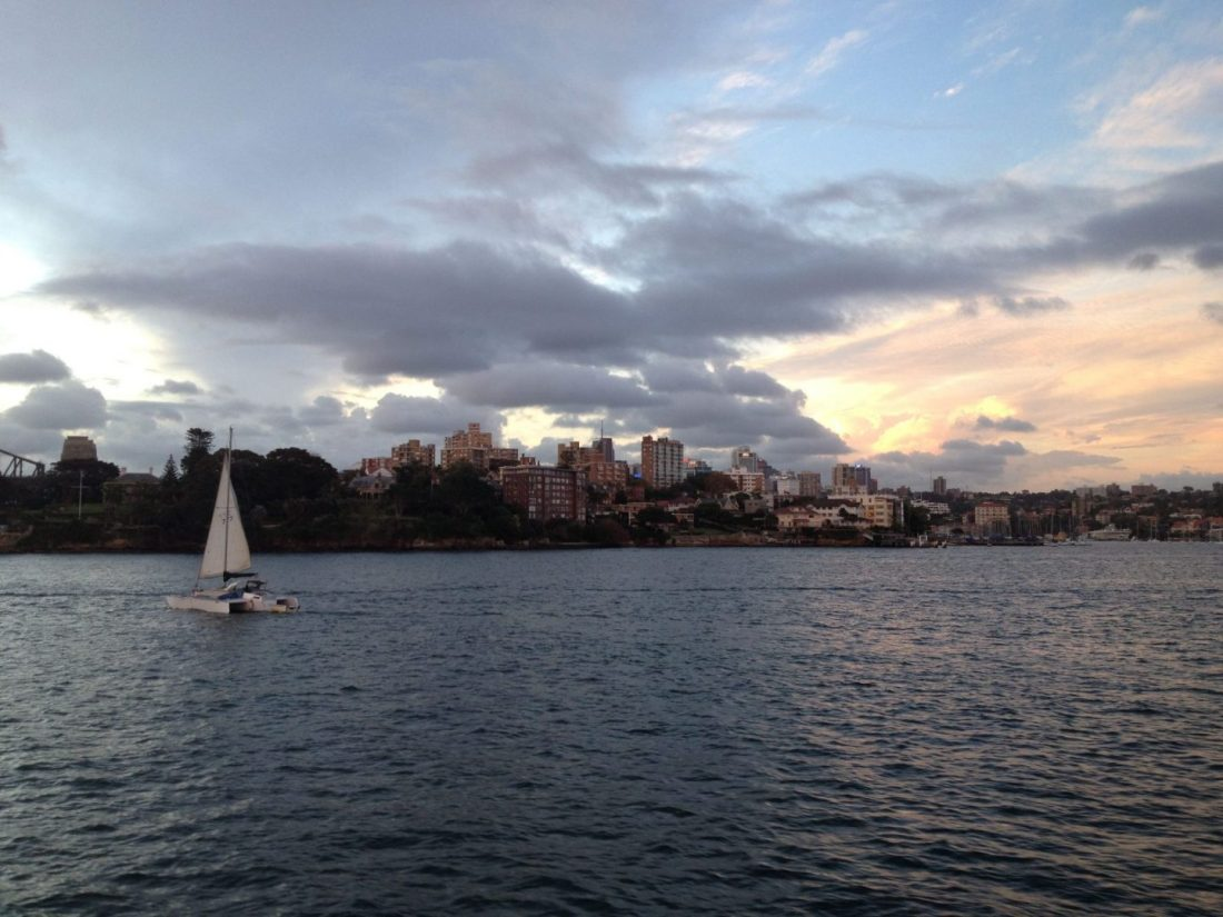 Views across Sydney Harbour at sunset