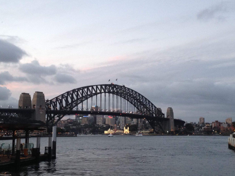 Luna Park and Sydney Harbour Bridge at sunset