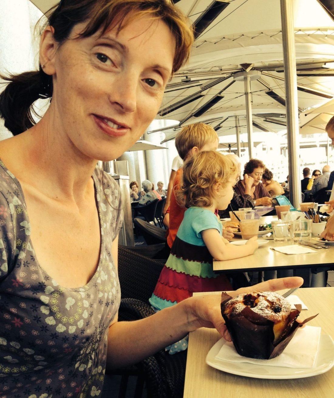 Raspberry muffin from Guylian Cafe, Circular Quay, Sydney