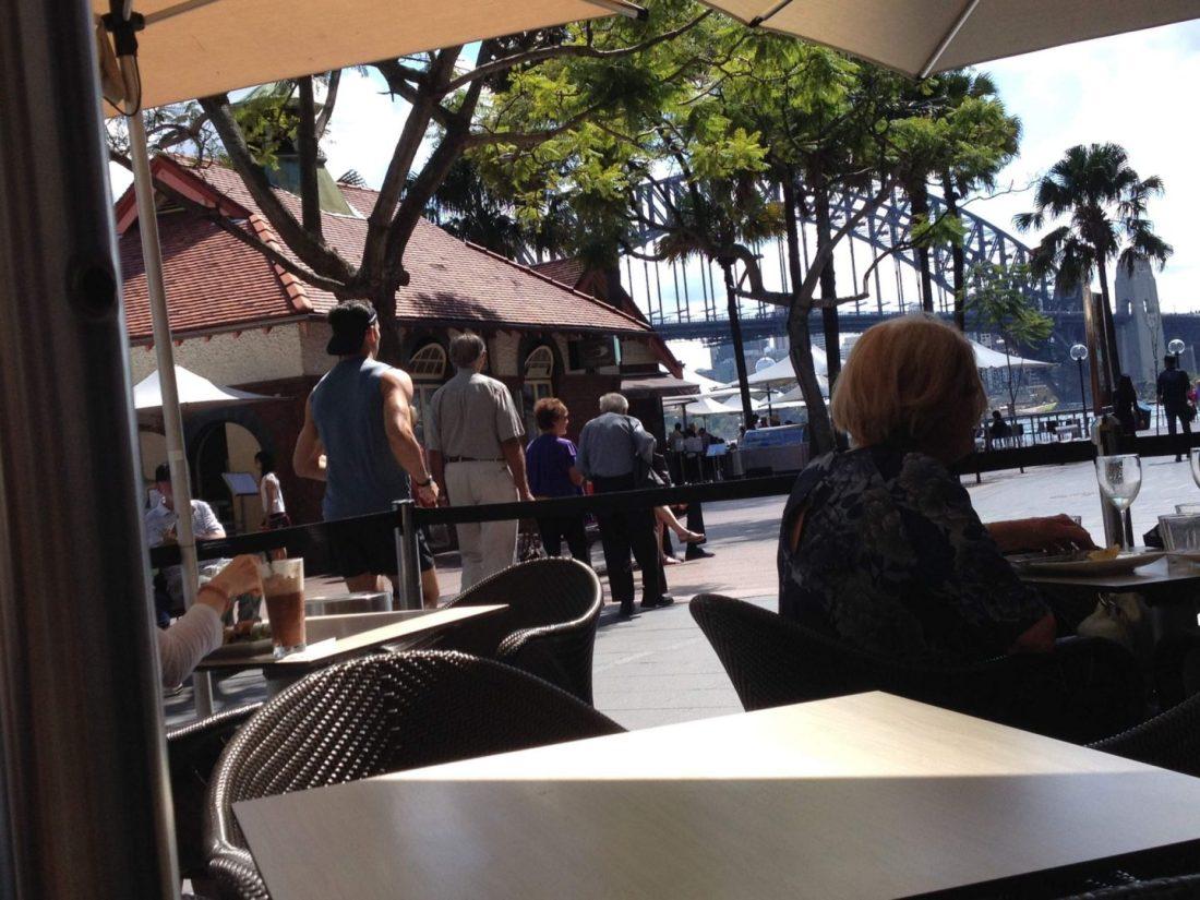 Guylian Cafe view of Sydney Harbour Bridge