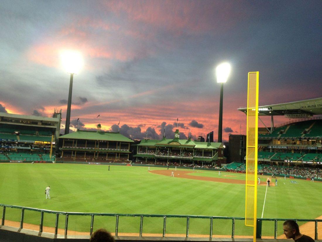 Sunset over Sydney Cricket Ground during the baseball game
