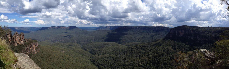 Panoramic views across the Blue Mountains, Australia