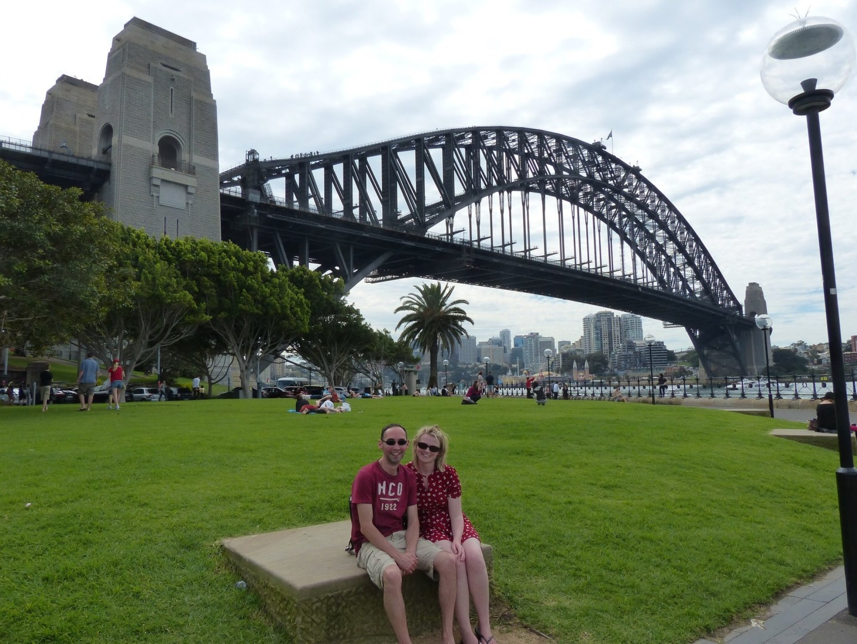 Laura and Paul in front of Sydney Harbour Bridge