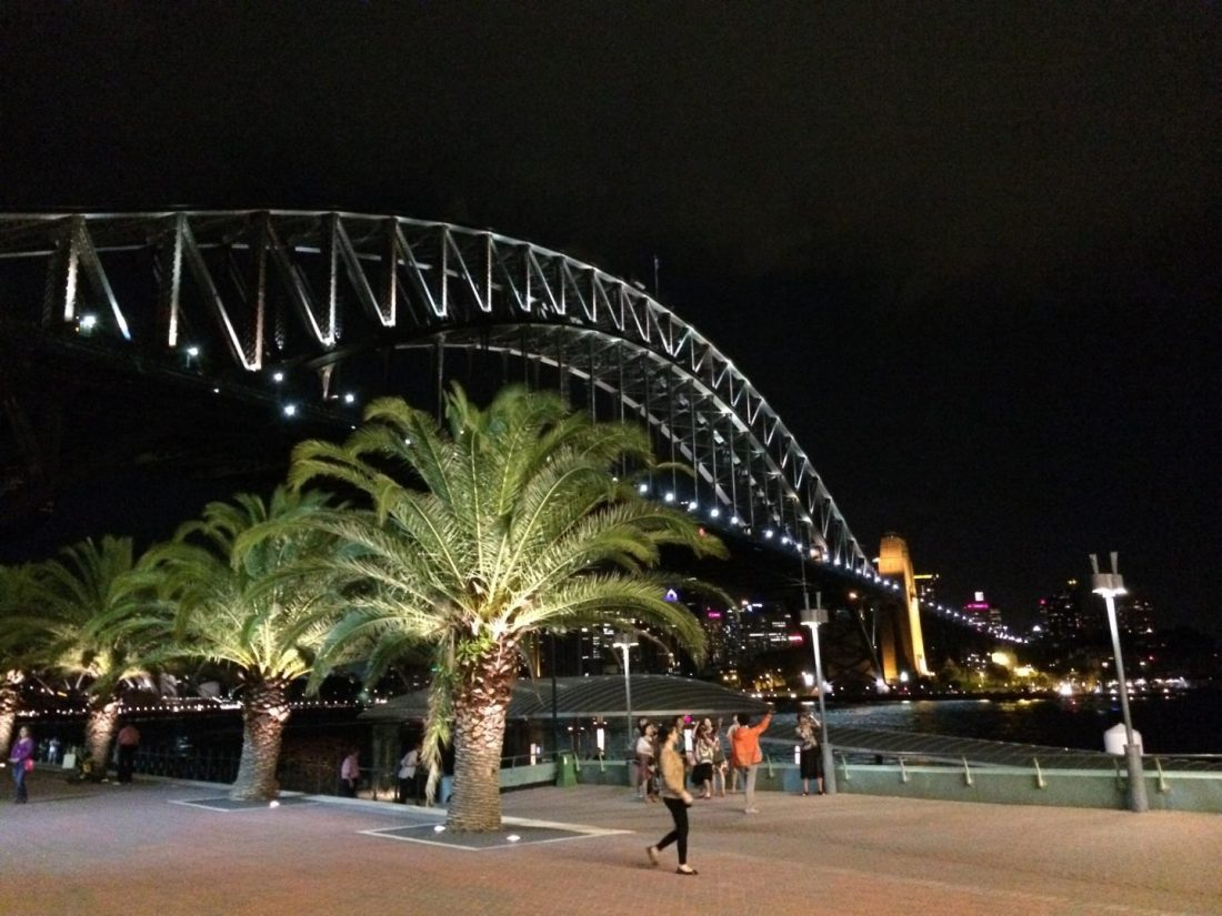 Sydney Harbour Bridge at night from Milsons Point