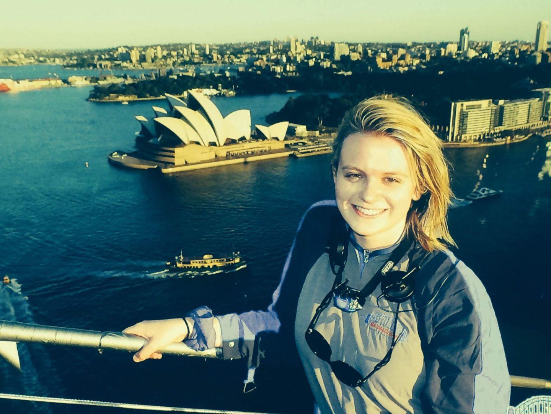 Laura on top of Sydney Harbour Bridge Climb