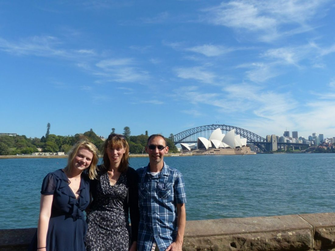 Family in front of Sydney Opera House